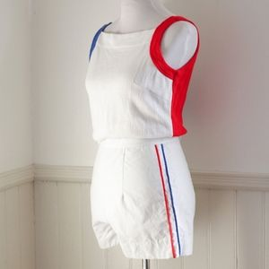 Vintage 1950s Playsuit Short Set / White Red Blue